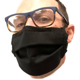 Black Cotton Face Mask with Wire Nose  Hand Sewn in Colorado - Washable Reusable