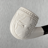 Grape Season Hand Carved Mini Meerschaum Block Meerschaum Pipe with Custom Leather Case 1 Count
