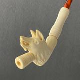 Roman Wolf Head II Antique Replica Meerschaum Cheroot Cigarette Cigarillo Joint Holder