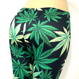 Green Pot Leaf Marijuana Weed Pants Leggings One Size Fits Most