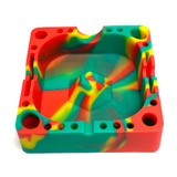 """Silicone Ashtray w/Tool Holders 5""""x5"""" (Assorted Colors) 1 Count"""