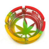 """Pot Leaf Safety Glaashtray Glass and Silicone Ashtray 1 Count Assorted Colors 4.6"""""""