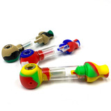Big One Hand Pipe Silicone and Pyrex 1 Count Assorted Colors