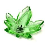 "Weed Leaf Ashtray Smokin San Francisco California Green Glass 5"""