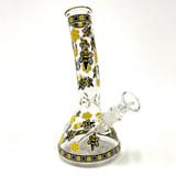"""Black and Yellow Bee Honeycomb Water Beaker 8"""""""