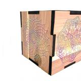 "Colorful Sacred Geometry Rock Charging Cedar Box 5""x5"" USA"
