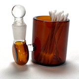"""Amber Large 3"""" Heady Glass Cotton Swab Q-Tip Holder / Alcohol ISO Station"""