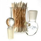 """Clear Large 3"""" Heady Hand Blown Glass Cotton Swab Q-Tip Holder / Alcohol ISO Station"""