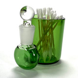 """Green Large 3"""" Heady Hand Blown Glass Cotton Swab Q-Tip Holder / Alcohol ISO Station"""
