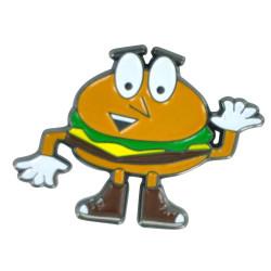 Cartoon Burger Guy Hat Pin