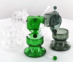 Glass Toilet Dish w/ Vial and Stopper - Dab Cleaning Set (Assorted Colors)