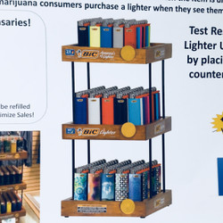 3 Tier Wooden Display for Dispensaries-150 Pk Lighters