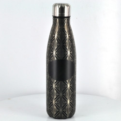 Sacred Geometry Laser Engraved Metal Finish Insulated Steel Cola Bottle 16.5oz (Full Wrap With Custom Logo) (Assorted Colors)