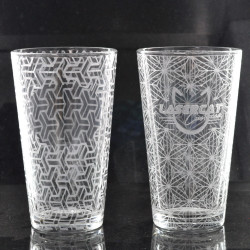 Sacred Geometry Laser Engraved Libbey 1639 16oz Mixing Glass (Full Wrap With Custom Logo) (Assorted Styles)
