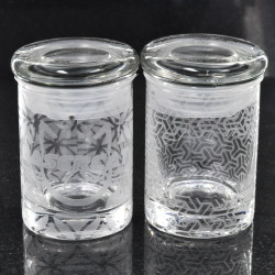 Sacred Geometry Laser Engraved Small Clear Glass Jar (Full Wrap With Custom Logo)