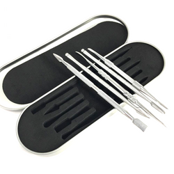 Five Piece Set of Aluminum Wax Carving Tools with Case