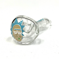 """Clear Colorado Blown, Sand Carved and Painted Glass Hand Pipe 5""""+-"""
