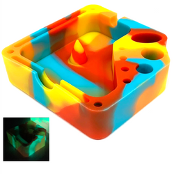 Silicone Glow In The Dark Dabber Ashtray with Tool Holsters and Bowl Knockout - Sunset Color