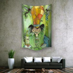 """Mad Hatter Wall Hanging Tapestry 60""""x90"""""""