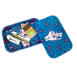 """Blue with Purple Accents Afghan Hemp Magnetic Rolling Tray with Papers and Wick 9"""""""