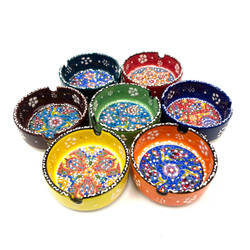 """Hand Painted Turkish Ceramic Ashtray Assorted Colors 1 Count 3"""""""