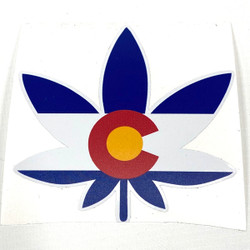 Colorado Flag Pot Leaf Flag Vinyl Sticker
