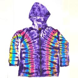 Purple Second In Command Tie Dye Long Sleeve Cotton Pullover w/ Zipper & Hood (MEDIUM)
