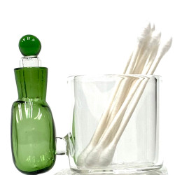Fresh Green Glass Cotton Swab Q-Tip Holder / Alcohol ISO Station 2.5""