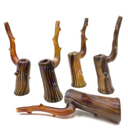 Large Glass Manzanita Drift Wood Water Bubbler Pipe 9.5""