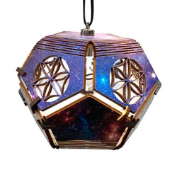"""Amazing Colorful Dodecahedron Woodcut Lamp Ornament Birch 5"""" 1 Count Assort"""