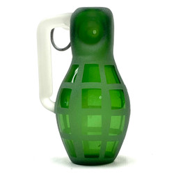 """Pull The Pin Glass Grenade Hand Pipe Starfish Designs USA 5"""" Green or Blue 1 Count"""