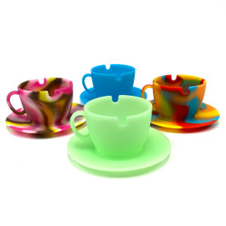 Alice's Trippy Teacup Ashtray Glows in Dark Black-light 1 Count Assorted Color