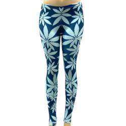 Blue Pot Leaf Marijuana Weed Pants Leggings One Size Fits Most