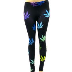 Rainbow on Black Pot Leaf Marijuana Weed Pants Leggings One Size Fits Most