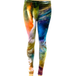 Green Orange Star Clouds Space Pants Leggings One Size Fits Most