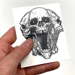 Badass Skull Sticker 3.5""