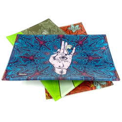"""Afghan Hemp High End Glass Rolling Tray 6""""x10"""" Assorted Designs 1 Count"""