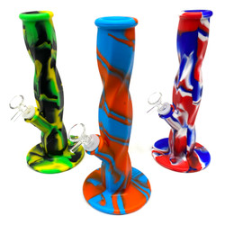 """Soft Serve Swirl Straight Silicone Water Pipe 10.2"""" Tall 1 Count Assorted Colors"""