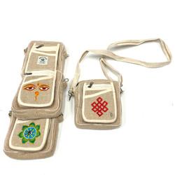 100% Hemp Passport Bag with Strap Assorted Designs 1 Count