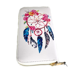 """Blue and Red Dream Catcher Leather Women's Wallet Clutch 8"""""""