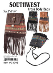 Southwest Leather Cross Body Bags, Assorted 1 Count