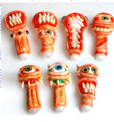 Crazy Doom Sculpture Glass Pipe 1 Count Assorted Terror
