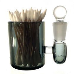 """Black Large 3"""" Heady Hand Blown Glass Cotton Swab Q-Tip Holder / Alcohol ISO Station"""
