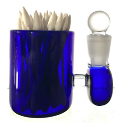 """Blue Large 3"""" Heady Hand Blown Glass Cotton Swab Q-Tip Holder / Alcohol ISO Station"""