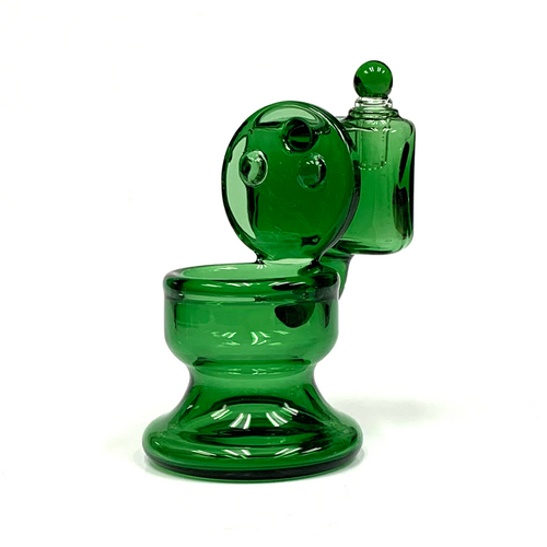 "Green Glass Toilet Cotton Swab Q-Tip Alcohol Station Holder 4"""