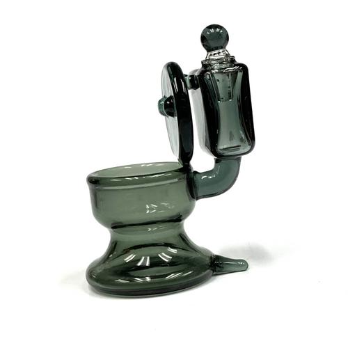 "Black Glass Toilet Cotton Swab Q-Tip Holder / Alcohol Station 4"""