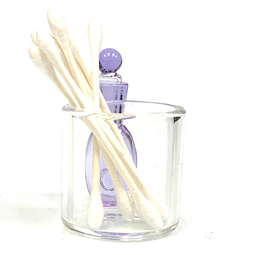 "Purple Glass Cotton Swab Q-Tip Holder / Alcohol ISO Station 2.5"""
