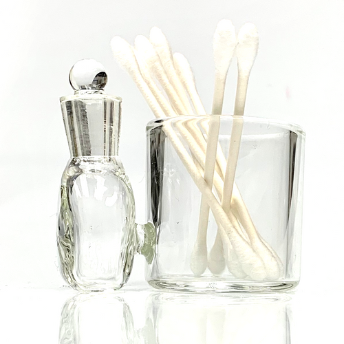 """Clear Glass Cotton Swab Q-Tip Holder / Alcohol ISO Station 2.5"""""""