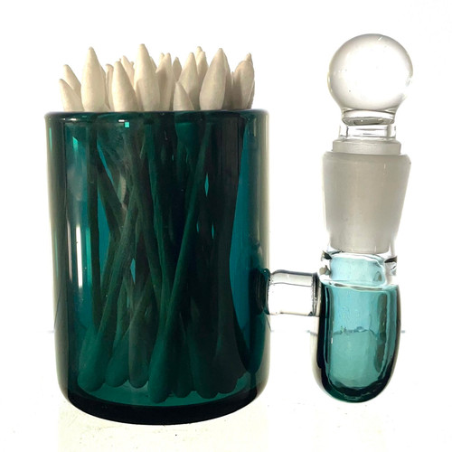 """Aqua Forest Green Large 3"""" Heady Hand Blown Glass Cotton Swab Q-Tip Holder / Alcohol ISO Station"""
