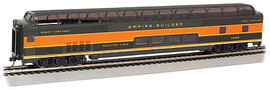 """Bachmann 13003 HO Scale Budd 85' Full-Length Dome with Lights - Ready-to-Run - Silver Series(R) -- Great Northern #1392 """"Mountain View"""" (Empire Builder; green, Omaha Orange)"""
